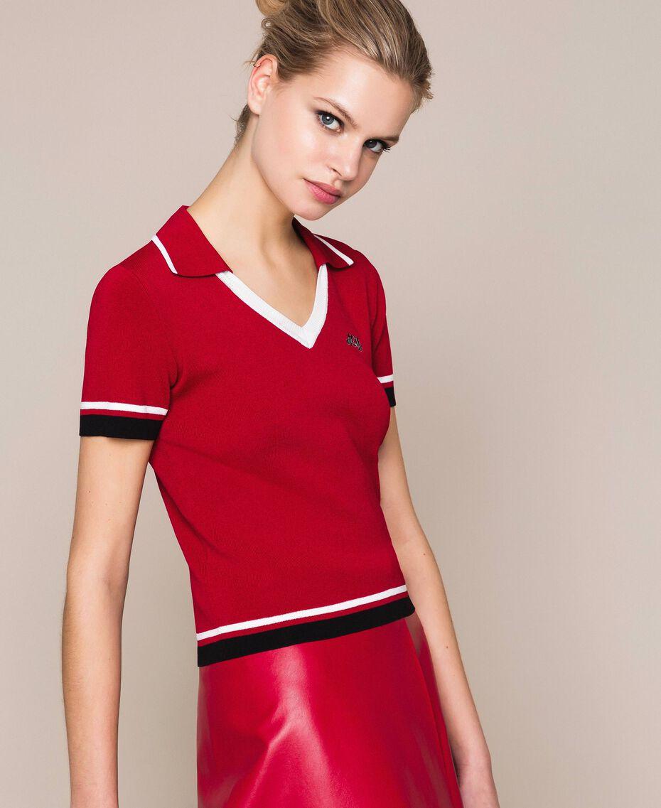"""Maglia a polo con profili a contrasto Multicolor Rosso """"Veneziano"""" / Vaniglia / Nero Donna 201MP3052-03"""