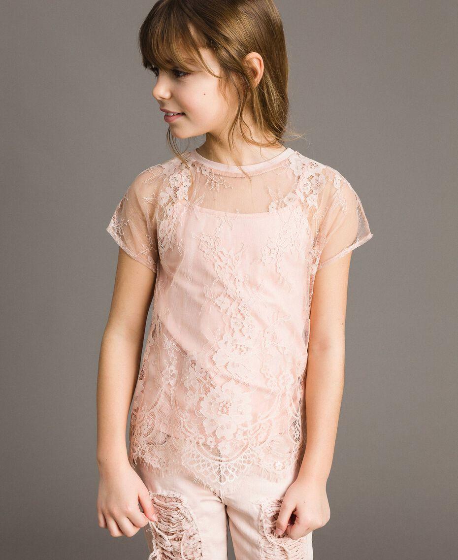 Top en jersey et blouse en dentelle Rose En fleur Enfant 191GJ2741-02