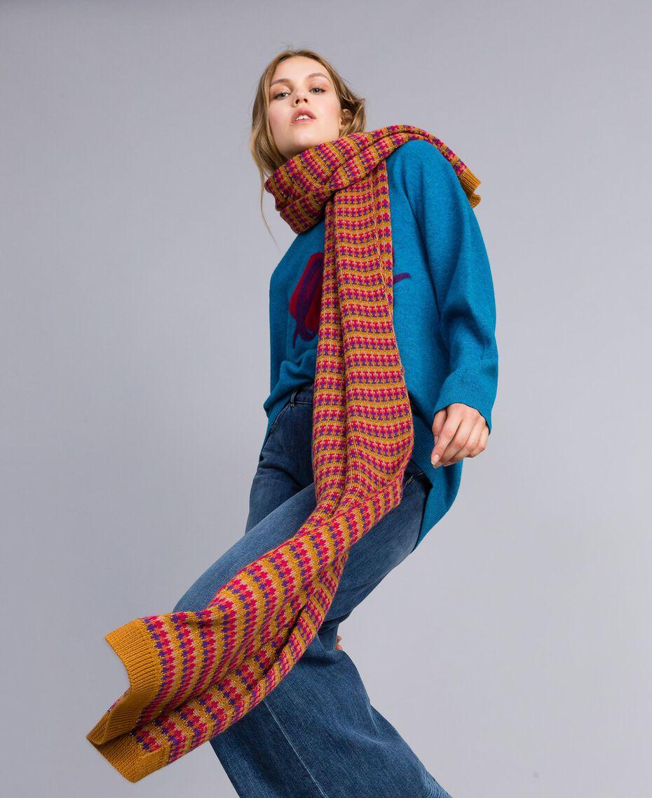 Maxi maglia in misto lana con cuore Ricamo Blu Ottanio Agugliato Donna TA83JF-0T