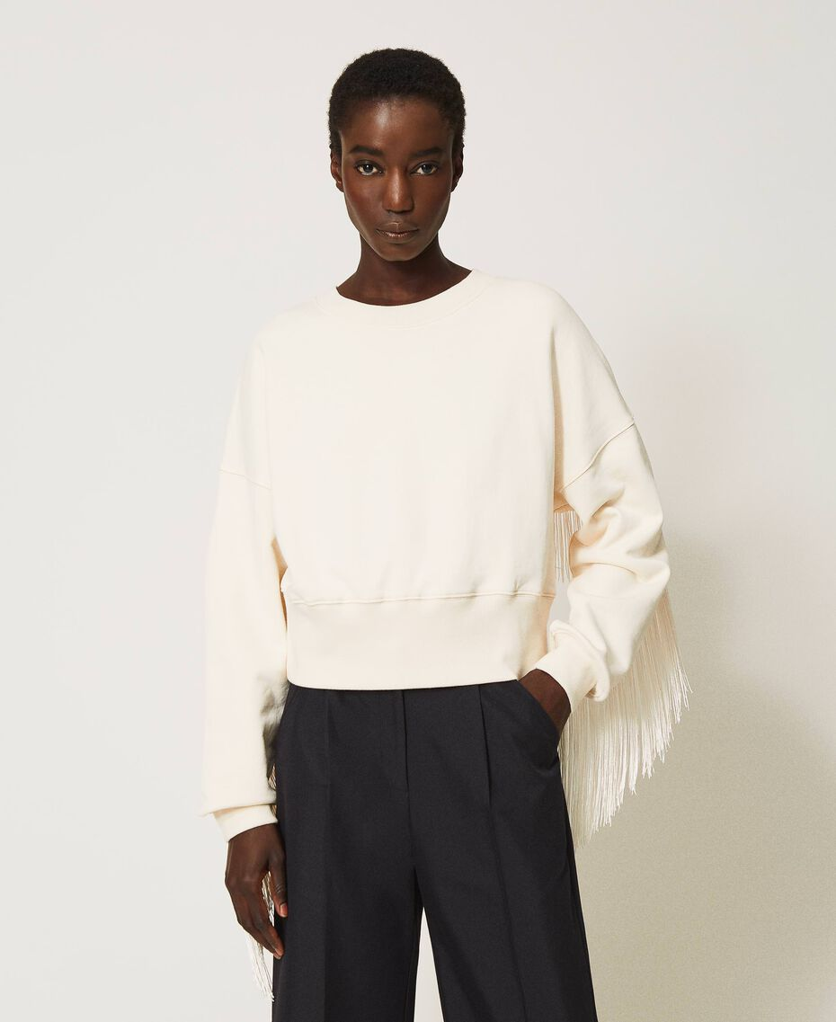 Cropped sweatshirt with fringes Creamy White Woman 202TP265F-02