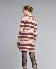 Mini-robe rayée en lurex Multicolore Rose / Bordeaux Femme PA832P-03