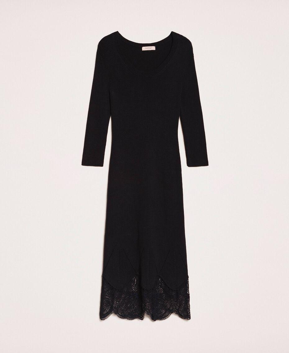 Vestido de tubo acanalado con encaje Negro Mujer 201TP3120-0S