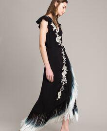 Robe longue avec broderie florale et franges Noir Femme 191TT2135-04