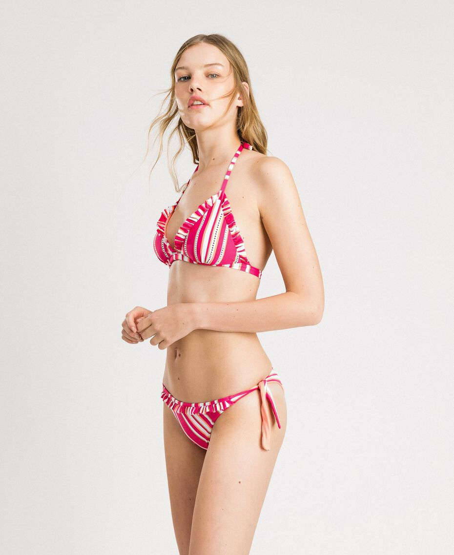 "Striped thong with ruffle Pink / ""Tangerine Cream"" Pink Multicolour Striping Woman 191LBMAXX-02"