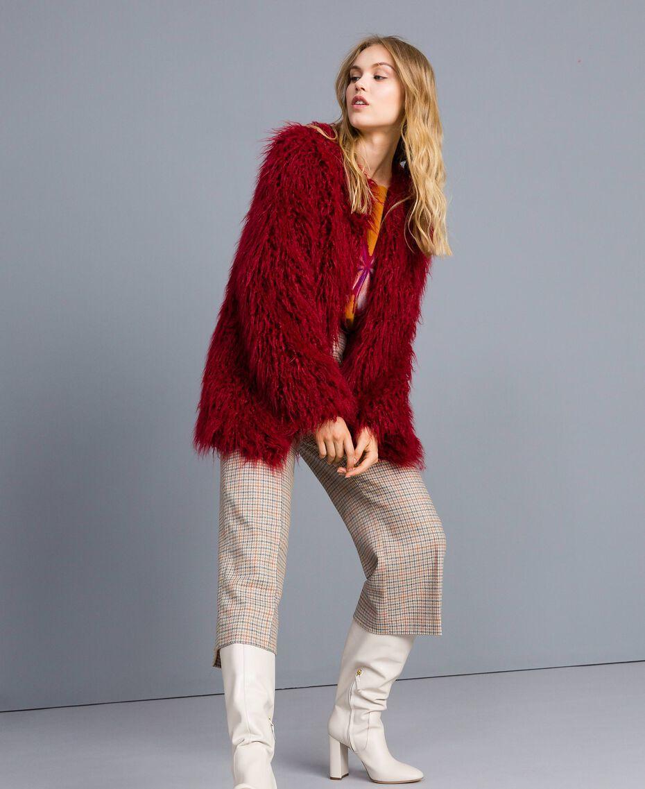 Maxi pull en laine mélangée avec broderie Broderie Ocre Foncé Aiguilletée Femme TA83JG-0T