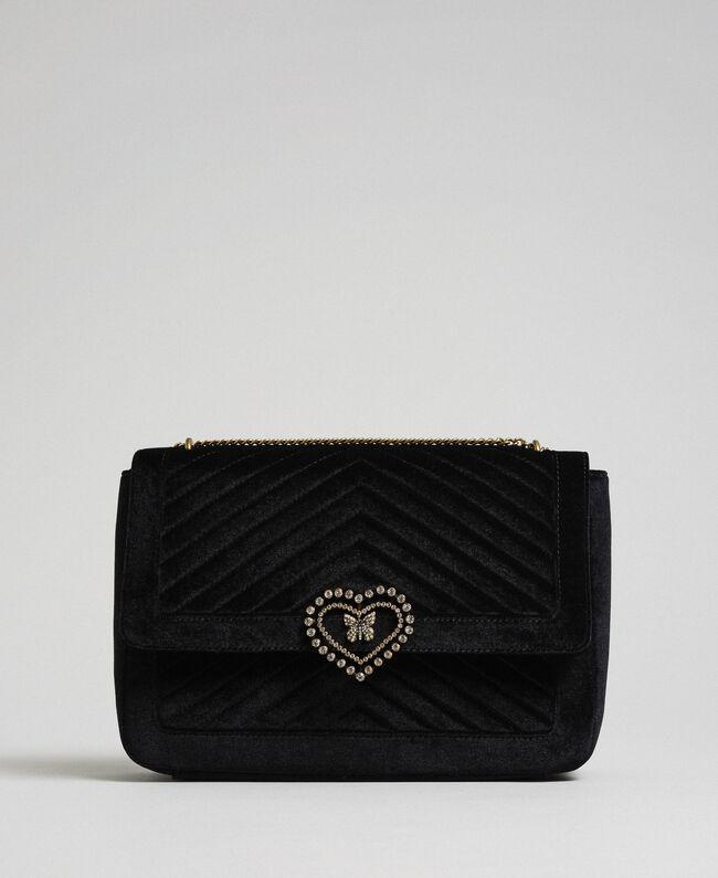 Grand sac à bandoulière en velours Noir Femme 192TO8070-04