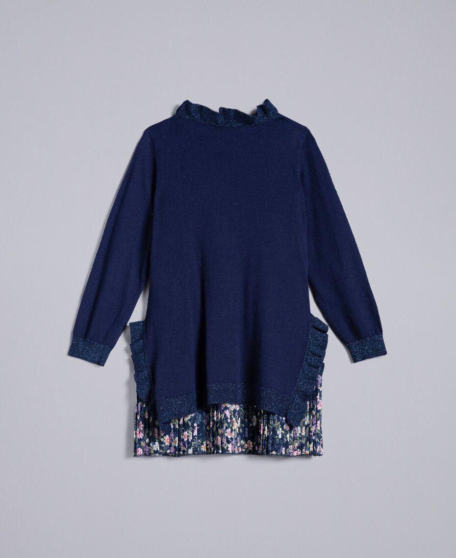 Robe en maille avec ruches Bicolore Bleu Blackout / Petite Fleur Enfant FA83B1-0S
