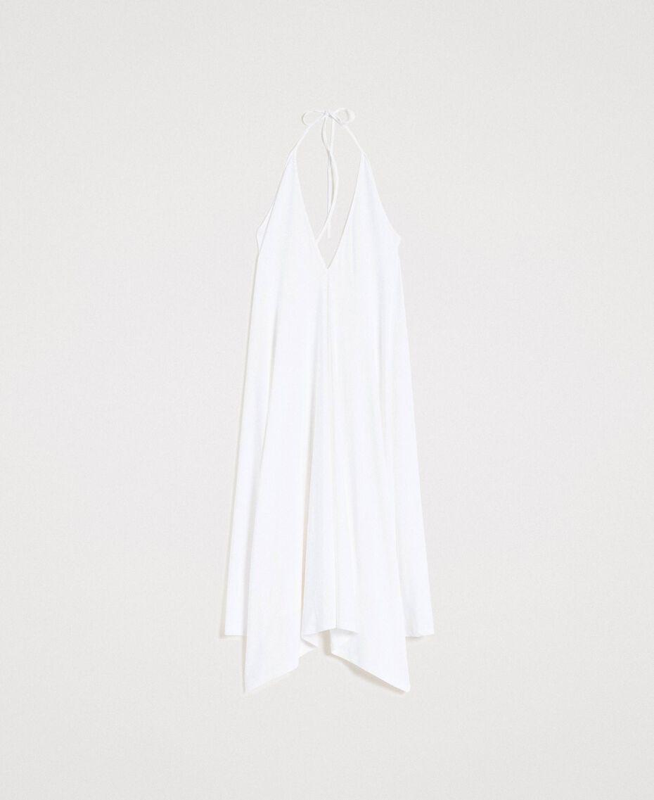 Robe asymétrique en jersey crêpé Blanc Femme 191LB22QQ-0S