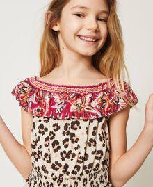 Short animal print jumpsuit Leopard Spot & Paisley Print Child 211GJ2247-04