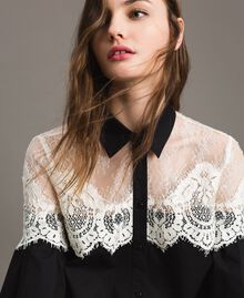 Poplin shirt with lace inlays Black Woman 191TT2120-01