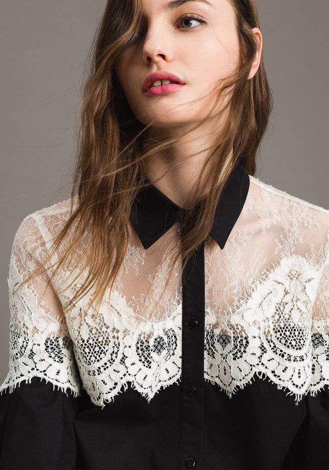 Poplin shirt with lace inlays