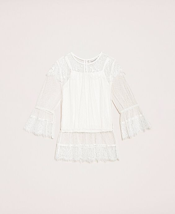 Plumetis tulle and lace blouse