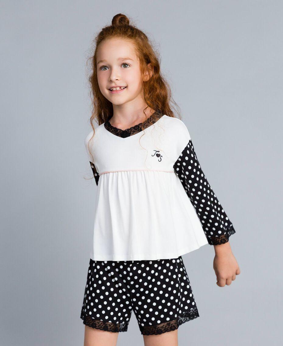 Pyjama en jersey à pois Bicolore Noir / Imprimé Pois Noir Enfant GA828D-02