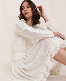 Robe en broderie anglaise avec cordon coulissant Blanc Neige Femme 201TP2496-01