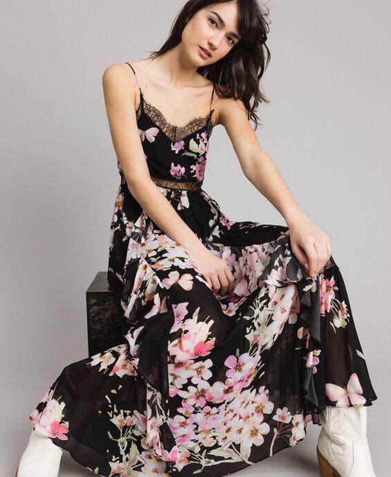 Robe longue en georgette à imprimé floral