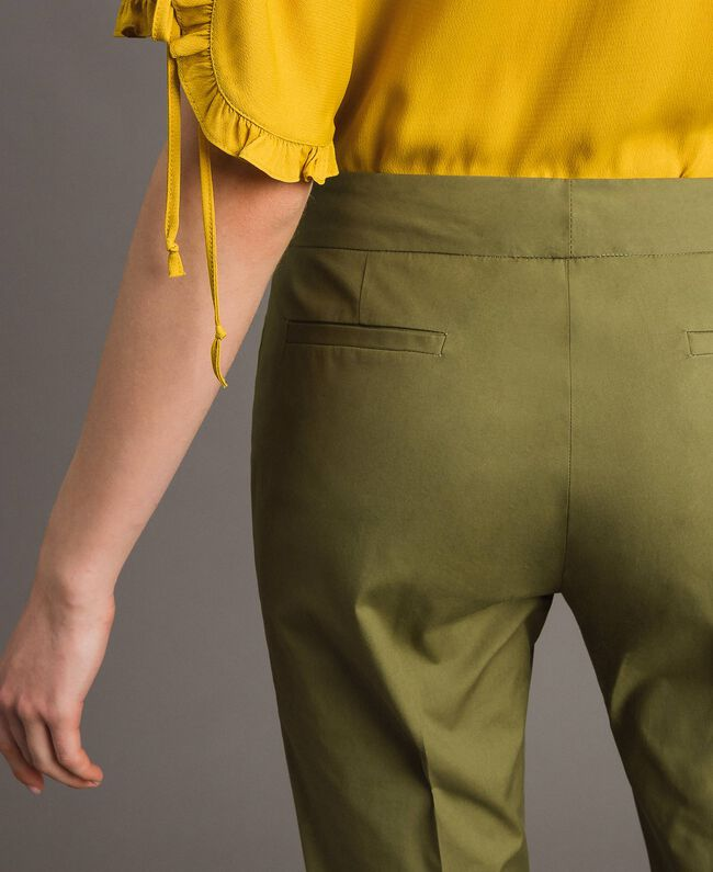 "Poplin drainpipe trousers ""Olive"" Green Woman 191TT2231-04"