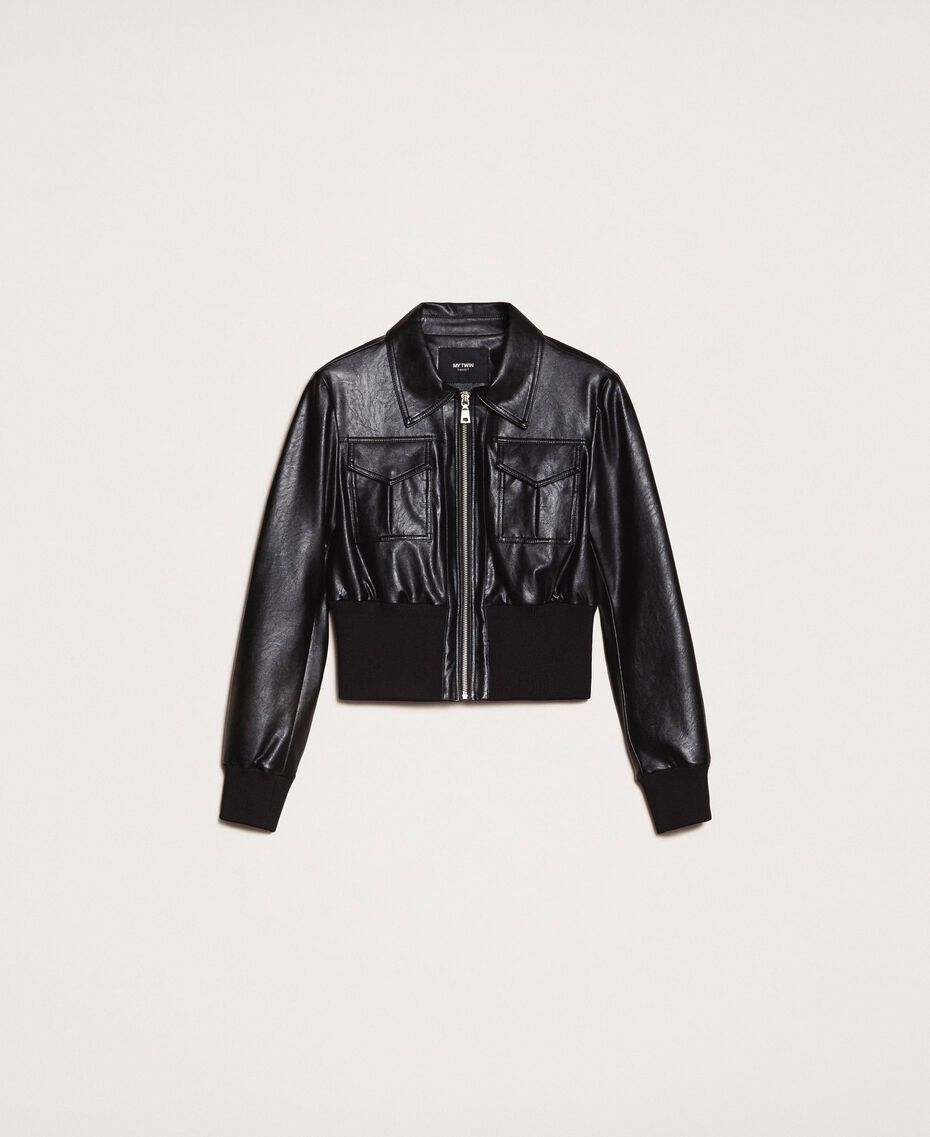 Faux leather jacket with waist band Black Woman 201MP2030-0S