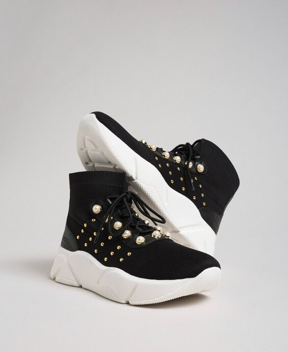 Knit running shoes with pearls and studs