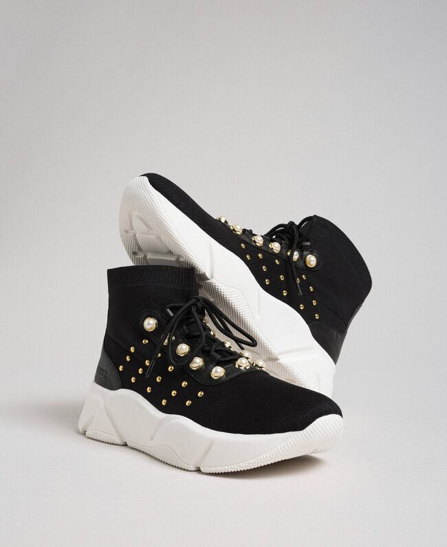 cheaper 8dde8 9be86 Knit running shoes with pearls and studs Woman, Black ...