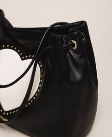 "Hobo bag with studs and heart Black / ""Vanilla"" White Woman 201MA7093-04"