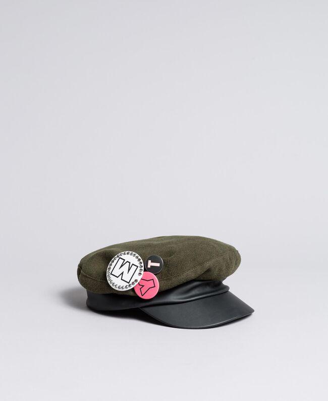 Schirmmütze aus Tuch und Lederimitat Alpengrün Frau VA8P21-01