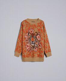 Maxipullover aus Wolle und Jacquard mit Lurexgarn Jacquard Blumen und Tiger Frau TA83Z1-0S