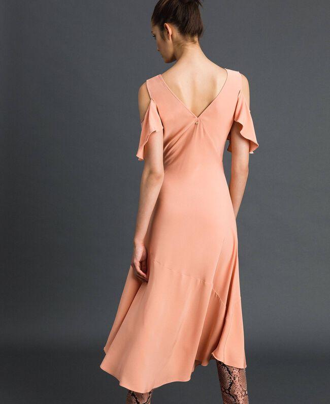 Robe longue en crêpe georgette avec volant Rose Mousse Femme 192TP2385-03
