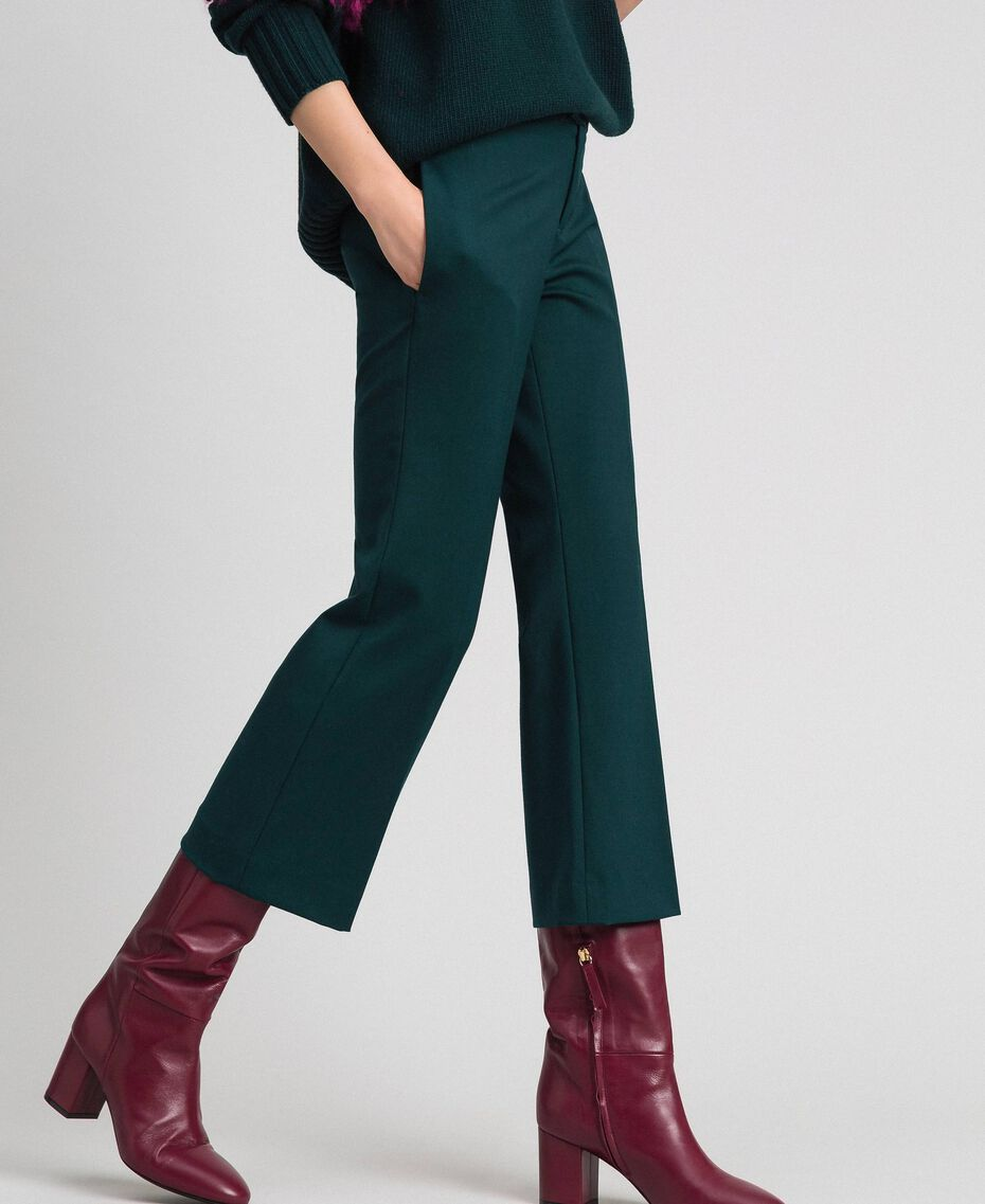 Pantalón evasé de lana Verde Dark Mujer 192TP2353-01
