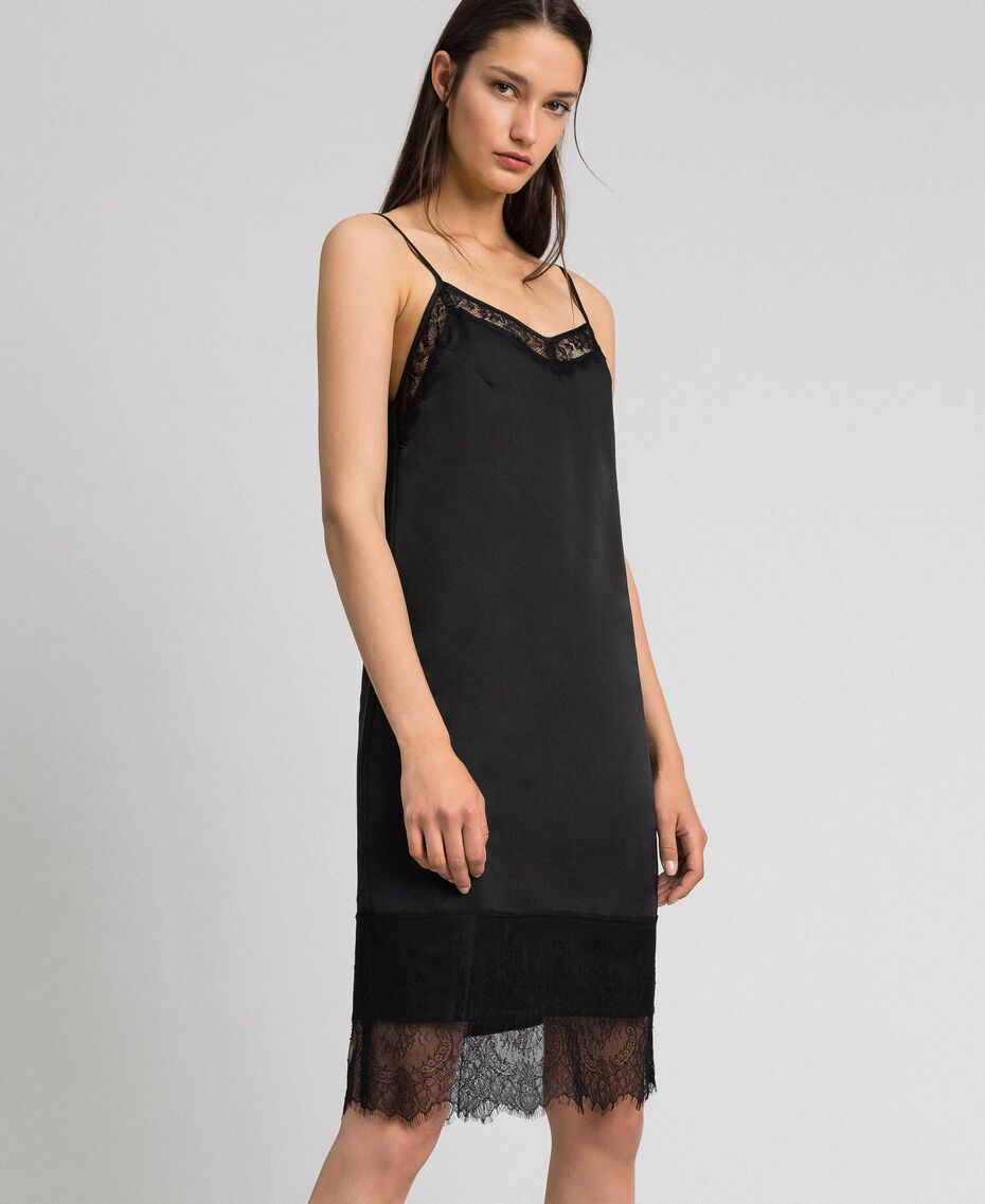 Unterkleid aus Satin mit Spitze Schwarz Frau 192MP2132-02