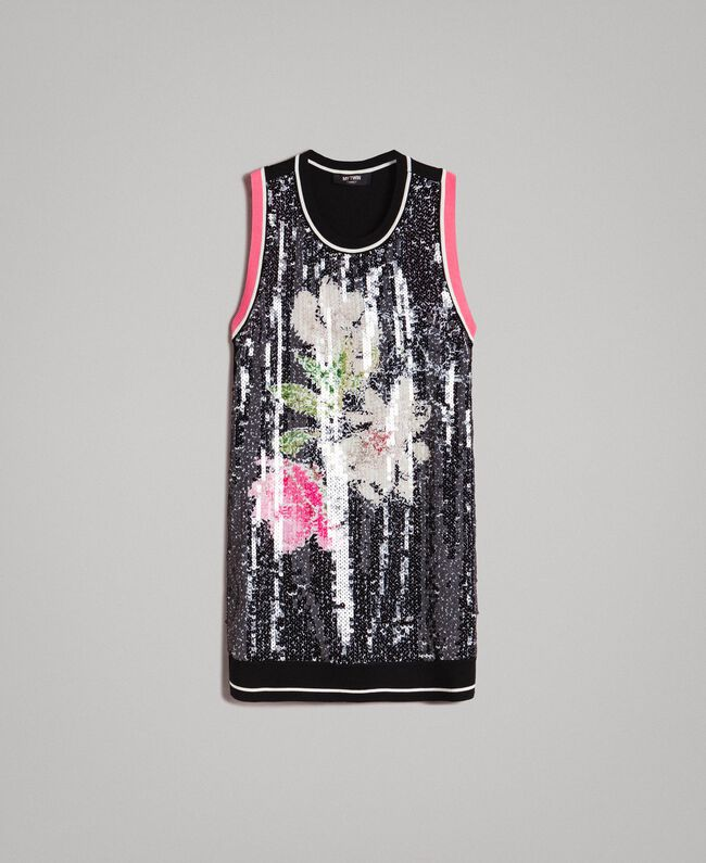 Top with sequins and contrasting trims Multicolour Black / Black Flowers Print Woman 191MT3111-0S