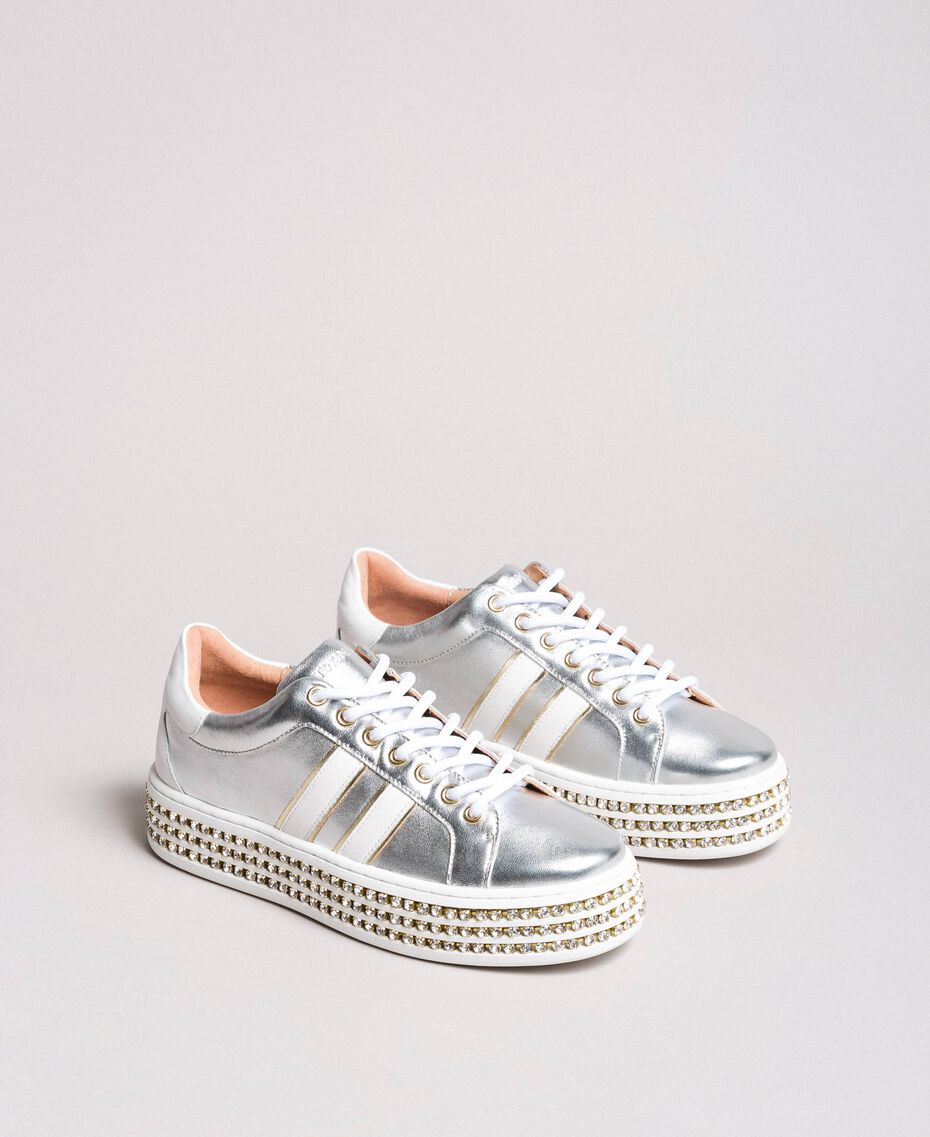 Leather sneakers with rhinestones Silver Woman 191TCP170-02
