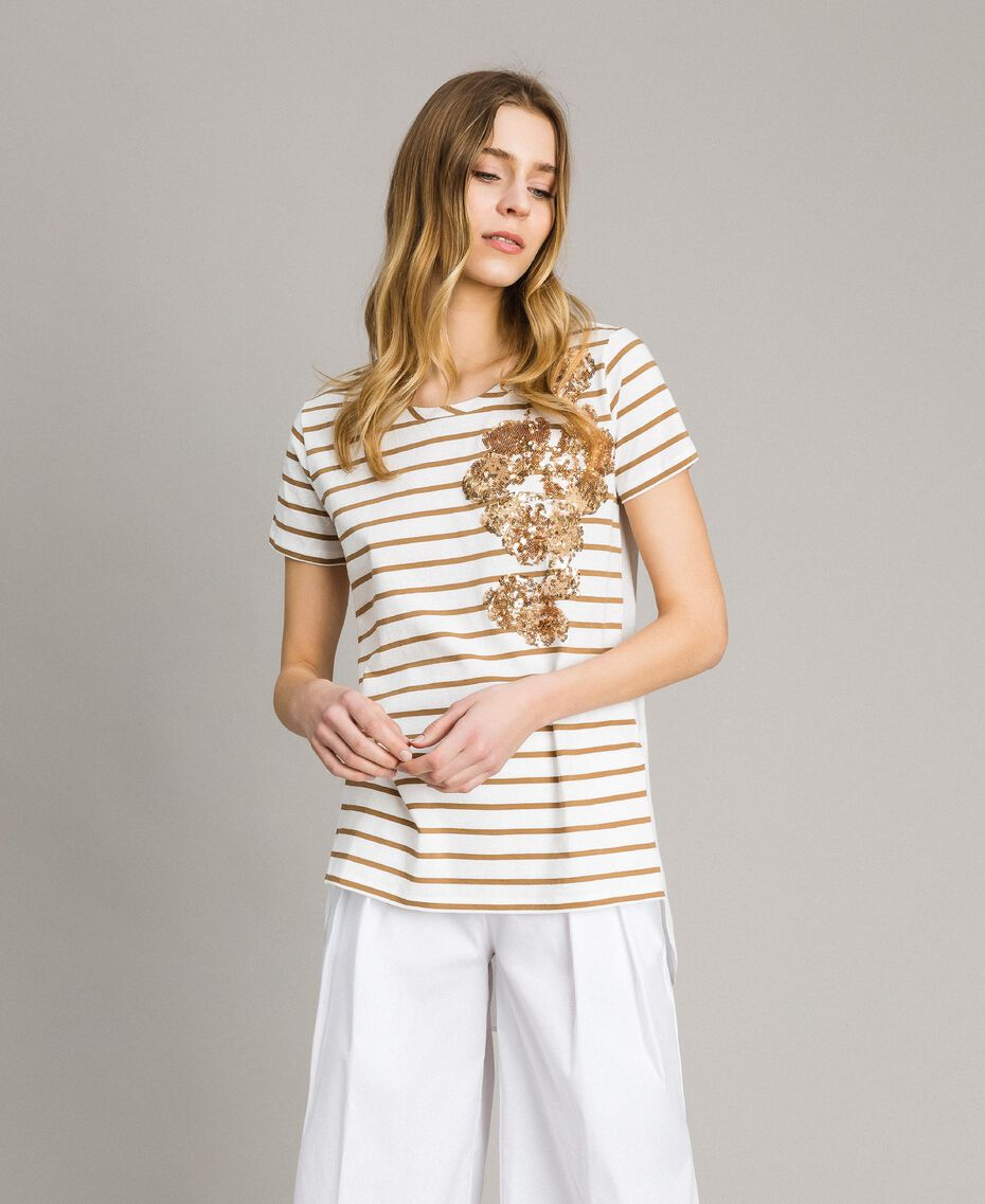 Gestreiftes T-Shirt mit Pailletten Motiv Gestreift Blue Shadow / Cremeweiß Frau 191ST2090-01