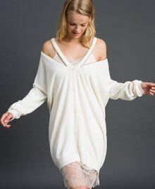 Maxi cardigan en cachemire mélangé avec fond de robe Blanc Neige Femme 192TT3092-05