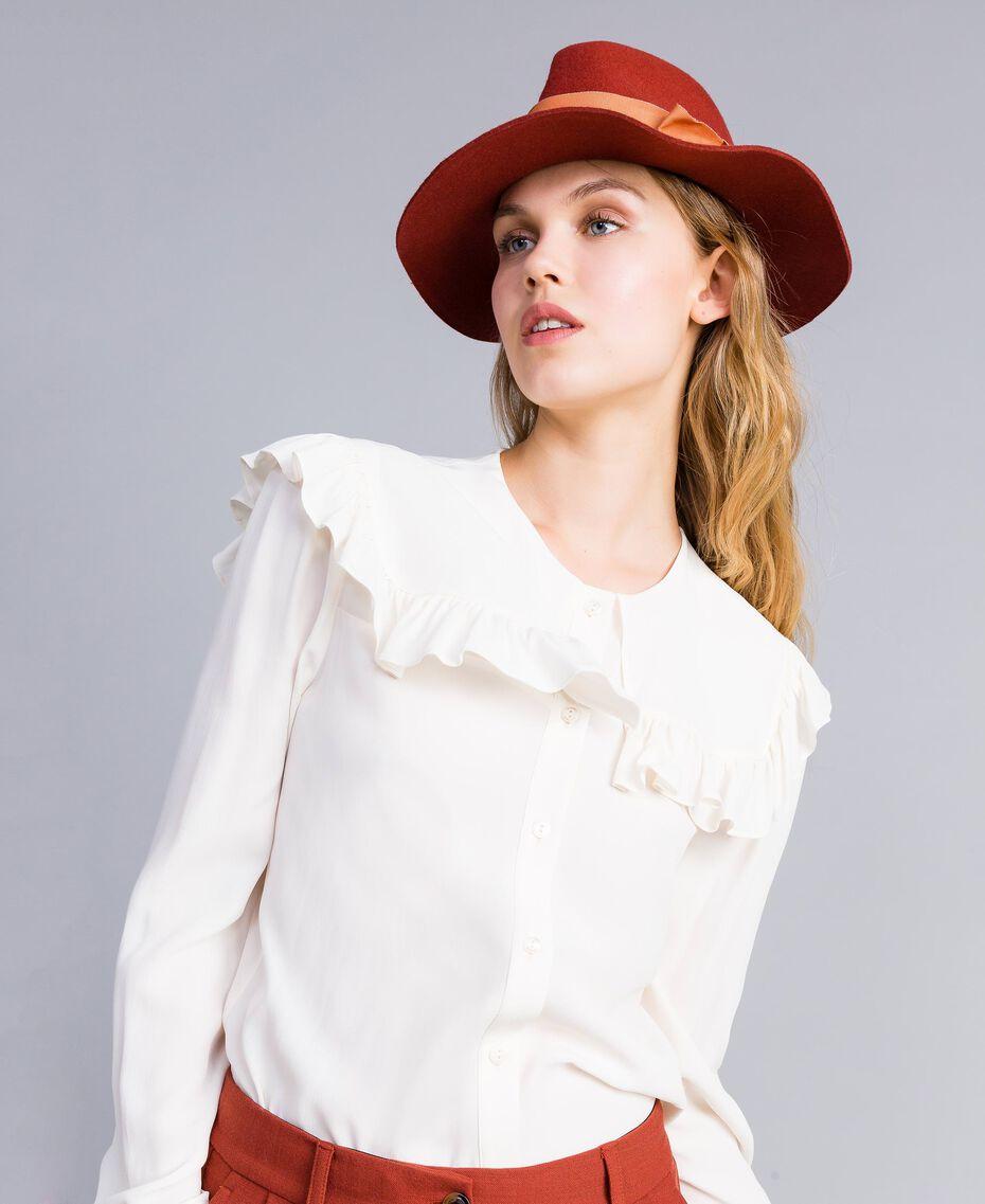 Chapeau avec ruban en contraste Bicolore Orange Brûlée / Rose «Sable Rose» Femme OA8T91-0S