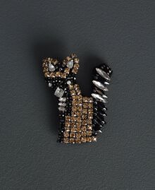 Maxipullover aus Mohairmischung mit Brosche Schwarz / Lurex Frau 192ST3040-20