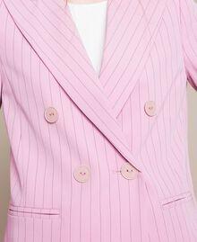 "Double breasted pin stripe blazer ""Candy"" Pink Pin Stripe Jacquard Woman 201ST2080-05"