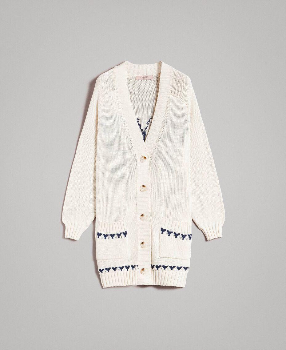 Cardigan oversize en coton avec cœurs Écru Clair Femme 191TP3111-0S