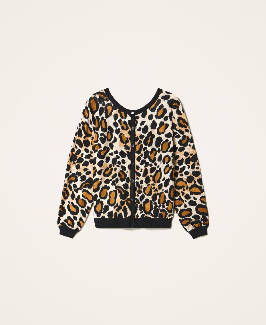Cardigan-Pullover mit Animalprint Animalier-Print Frau 202LL3EBB-0S