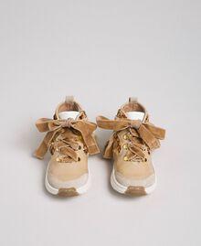 """Sneakers in pelle con paillettes Beige """"Farro"""" Bambina 192GCB054-04"""
