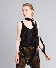 Silk studded scarf Two-tone Black / Gold Woman AA8P17-0S