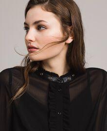 Рубашка из жоржета с рюшами Черный женщина 191MP2393-04