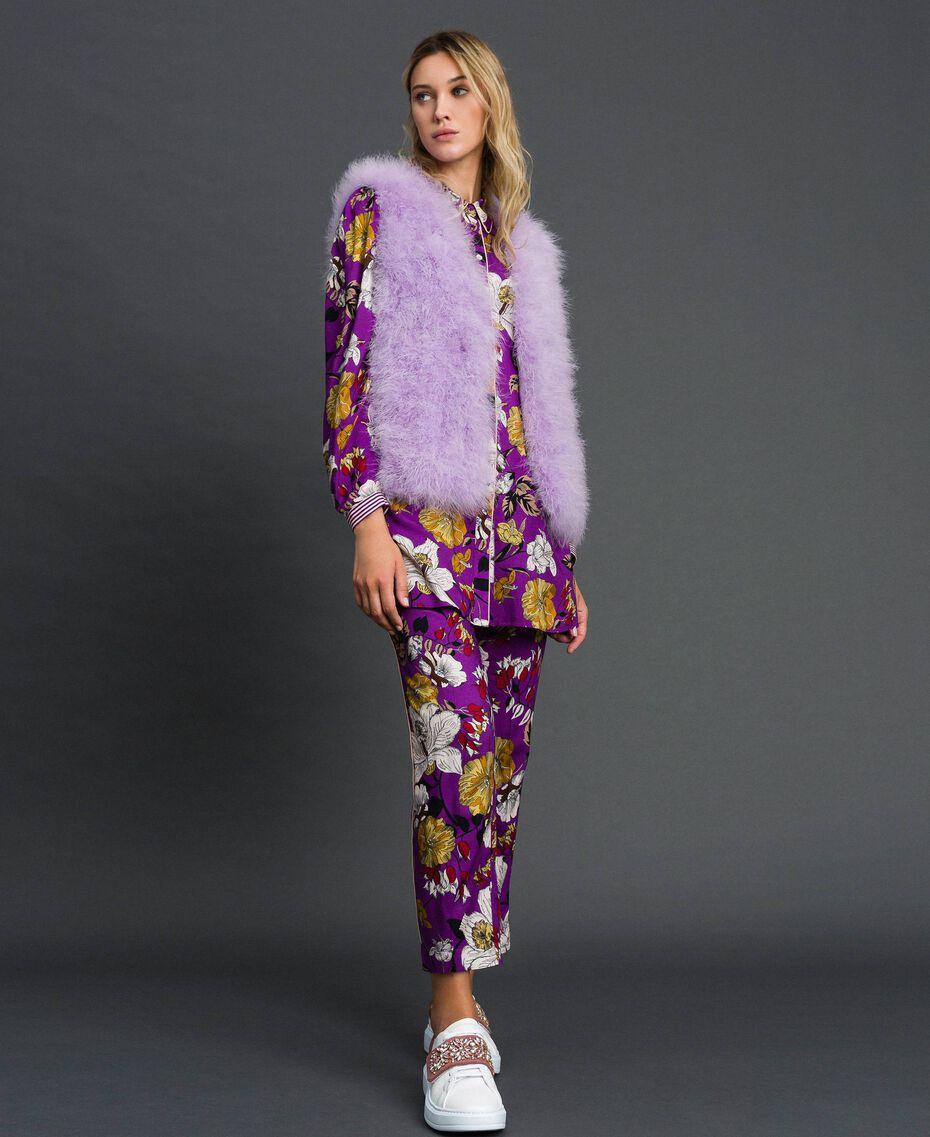 Chemise longue avec imprimé floral Imprimé Fleurs d'Automne Violet Femme 192ST2223-0T