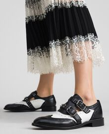 Leather shoes with tie up laces and studded straps Optical White / Black Woman 192TCP10U-0S
