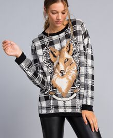 Maxi maglia jacquard check Jacquard Quadri Madreperla / Nero Fox Donna YA83HN-02