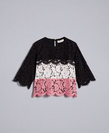 "Multi-coloured lace blouse Multicolour ""Blush"" Pink / Black / Roses Child GA82QA-01"