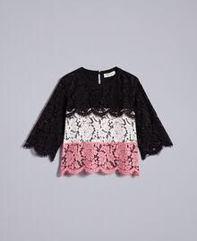 Blouse en dentelle multicolore Multicolore Rose «Blush» / Noir / Roses Enfant GA82QA-01