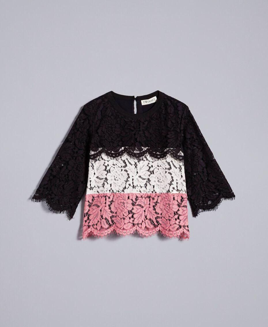 """Blusa in pizzo multicolor Multicolor Rosa """"Blush"""" / Nero / Rose Bambina GA82QA-01"""