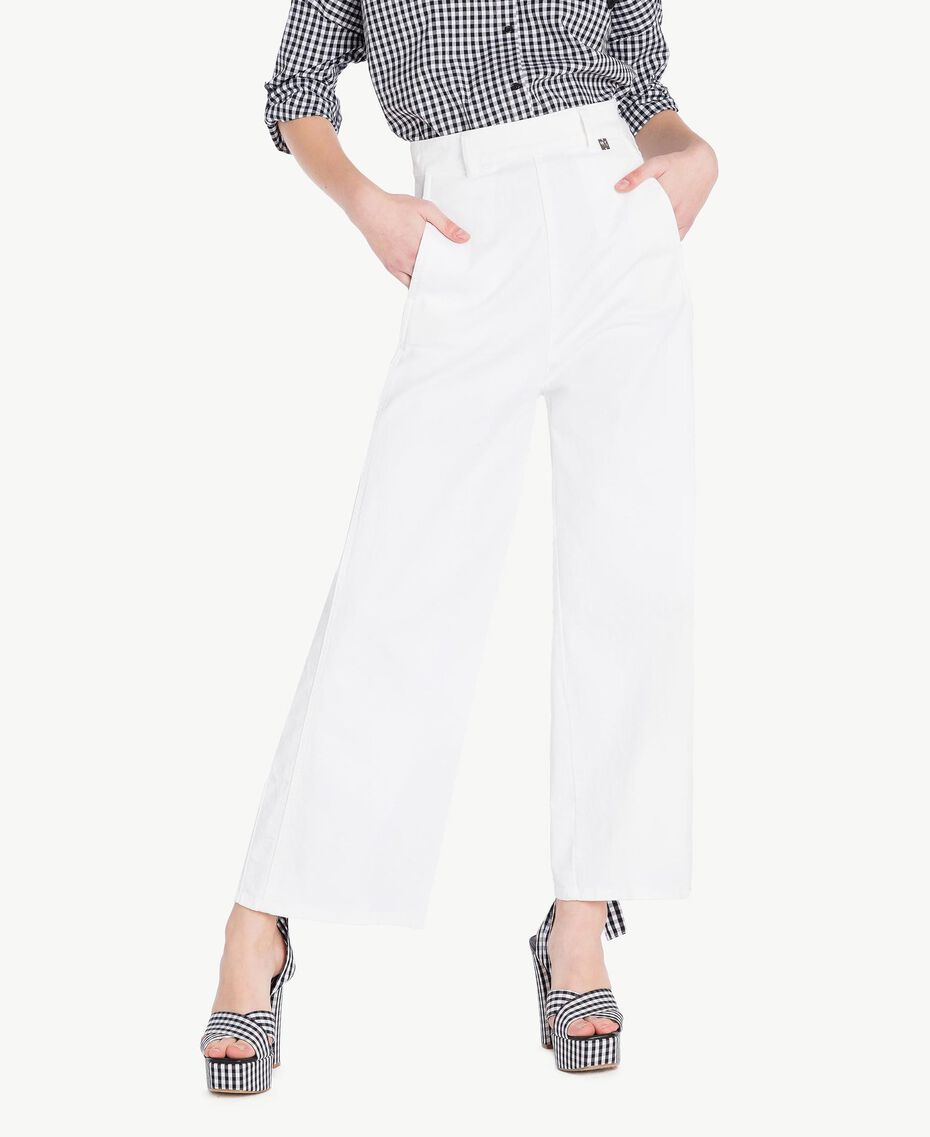 Pantacourt Blanc Femme JS82Z6-01
