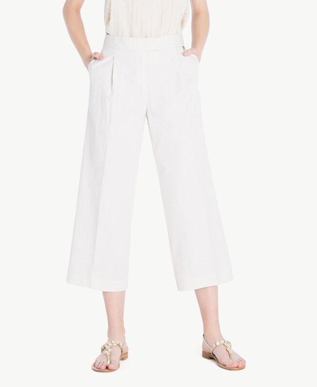 """Cropped trousers Light """"Dune"""" Beige Stripes Woman TS82Z3-01"""