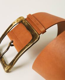 Leather belt with maxi buckle Leather Brown Woman 211TO506F-02